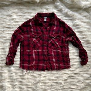 Charlotte Russe Red Plaid Button Flannel Crop Top